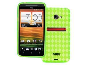 EMPIRE HTC EVO 4G LTE Poly Skin Case Cover (Neon Green Diamond Pattern) [EMPIRE Packaging]