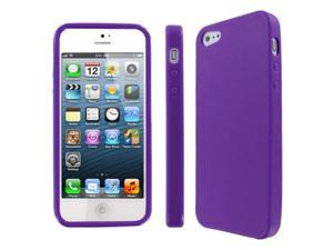 EMPIRE Apple iPhone SE 5 / 5G Textured Flexible Poly Skin Case Cover, Purple
