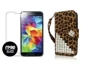 Galaxy S5 Wallet Case + Tempered GLASS Screen Protector Combo, Studded Leopard PU Leather Wallet Case