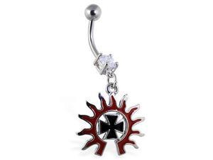 Navel ring with dangling tribal sun and chopper cross