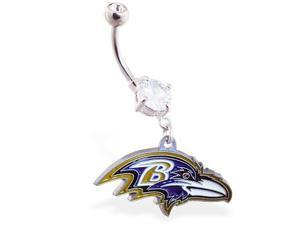 Baltimore Ravens official licensed NFL football belly ring