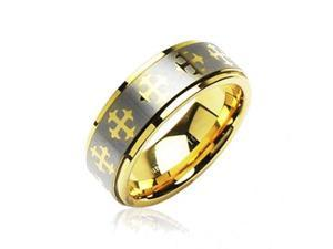 Tungsten Carbide PVD Gold and Brushed Ring With Cross Decorations,Ring Size - 11