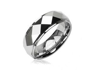Tungsten Carbide Faceted Ring With Drop Down Edges,Ring Size - 12