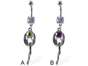 Navel ring with dangling angel holding gem,Color:clear - A