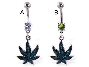 Belly ring with dangling holographic pot leaf,Color:clear - A