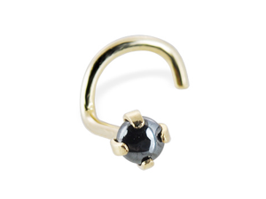 14K Gold Nose Screw with Genuine 2mm Round Cabochon Hematine, 20 Ga,Gold color:Yellow gold