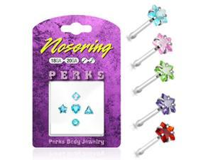 Sterling silver nose pin pack with 5 assorted shapes, 20 ga,Color:peridot