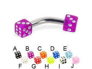 """Acrylic dice curved barbell, 10 ga,Length:3/4"""" (19mm),Cube size,3/16"""" (5mm),Color:pink - J"""