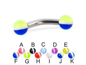 """Curved barbell with striped balls, 10 ga,Length:1/2"""" (13mm),Ball size:3/16"""" (5mm),Color:blue  - K"""