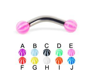"Beach ball curved barbell, 10 ga,Length:1/2"" (13mm),Ball size:1/4"" (6mm),Color:red - F"