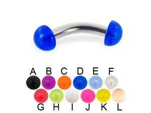 "Acrylic half ball curved barbell, 10 ga,Length:5/16"" (8mm),Color:pink - J"