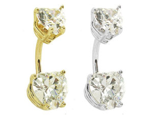 14K Gold Belly Ring with Bottom and Top Heart Diamond CZs Gorgeous,Color:clear,Gold color:Yellow gold