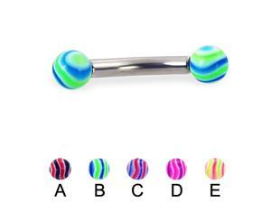 """Wave ball curved barbell, 10 ga,Length:3/4"""" (19mm),Ball size:3/16"""" (5mm),Color:A"""