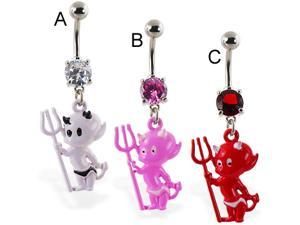Navel ring with dangling colored devil baby,Color:pink - B