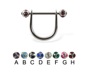 "Stirrup nipple ring with tiffany balls,Gauge:12,Ball size:3/16"" (5mm),Color:red - H"