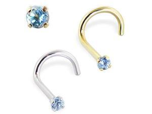 """14K Gold Nose Screw with Genuine Blue Topaz, 18 Ga,Nose Post Length,5/16"""" (7.94mm) - Long,Stone Size,2mm,Gold color,White gold"""