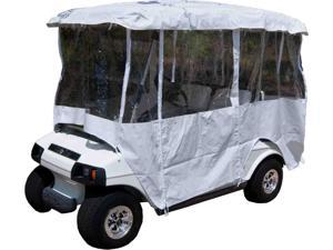 """White Golf Cart Enclosure Vinyl Cover - 4 Passenger Carts with 80"""" Top"""