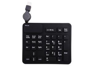 Silicone Flexible USB 32 Keys Extended Numeric Keypad w/ Retractable Wired Cable