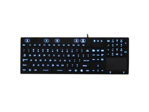 Industrial Waterproof IP68 Silicone Full Size LED Backlit Keyboard JH-IKB110BL