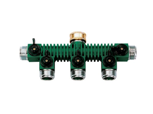 Orbit 5-Port Metal Outdoor Garden Hose Faucet Manifold Splitter & Valves, 62019N
