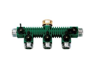 Orbit 5-Port Metal Outdoor Garden Hose Faucet Manifold Splitter & Valves, 62019N