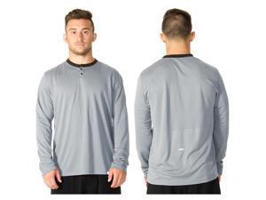 RVCA VA Sport Plata Long Sleeve Henley - XL - Monument Gray