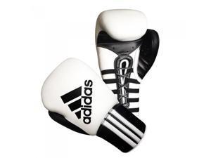 Adidas Super Pro Lace Up Boxing Training Gloves - 18 oz - White/Black
