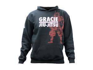 Gracie Jiu-Jitsu Kid's Swordless Samurai Pullover Hoodie - XL - Black