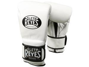 Cleto Reyes Hook and Loop Leather Training Boxing Gloves - 12 oz - White