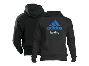Adidas Community Line Boxing Pullover Hoodie - 2XL - Black/Solar Blue