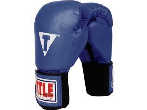 Title Classic Hook & Loop Leather Training Gloves-Blue 18 oz
