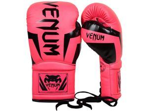 Venum Elite Long Cuff Attached Thumb Lace Up Boxing Gloves - 10 oz. - Neo Pink