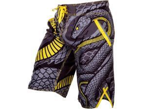 Venum Snaker Drawstring Closure MMA Boardshorts - XL - Gray/Black/Yellow