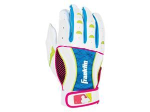 Franklin Insanity Women's Batting Gloves - Small - White/Pink/Electric Blue