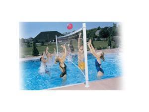 Dunnrite DeckVolley Swimming Pool Volleyball Set with Brass Anchors (SALT POOLS)