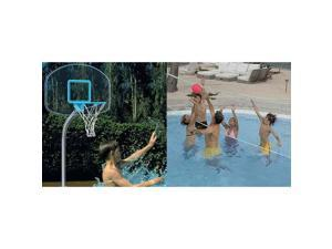 Dunnrite Junior Clear Stainless Combo Swimming Pool Basketball Hoop and Volleyball Set