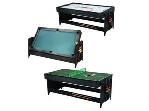 Fat Cat Pockey 7' Black 3-in-1 Air Hockey, Billiards, and Table Tennis Table