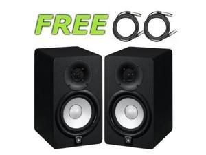 Yamaha HS5 70W Powered 2-way Studio Monitor (Pair) with Cables Bundle