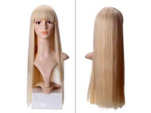 Straight Long Blonde Wig With Straight Bangs