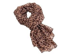 Animal Print Long Silk Wrap Scarf - Dark Leopard