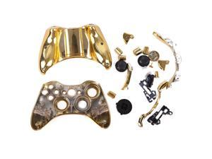 Gold Chrome Replacement Xbox 360 Controller Shell Cover Kit + Buttons