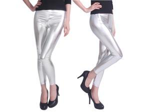 Footless Liquid Wet Look Shiny Metallic Stretch Leggings - Silver (Extra Large)