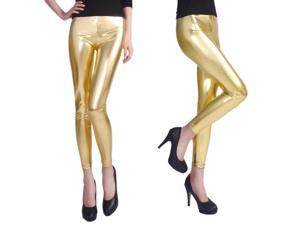Footless Liquid Wet Look Shiny Metallic Stretch Leggings - Gold (Extra Large)