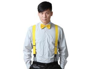 Mens Formal Fashion Button Hole Suspenders Adjustable Elastic Braces (Yellow)