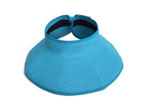 Women's Wide Brim Roll-Up Straw Sun Visor Hat