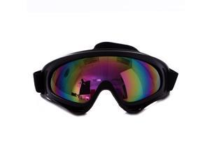 Outdoor Winter Sport Black Frame Snow Goggles (Rainbow)