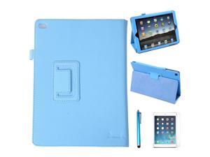 HDE iPad Air 2 Case Leather Folding Magnetic Cover Rotating Stand  + Screen Protector + Stylus (Blue)