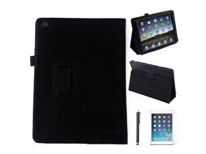HDE iPad Air 2 Case Leather Folding Magnetic Cover Rotating Stand  + Screen Protector + Stylus (Black)