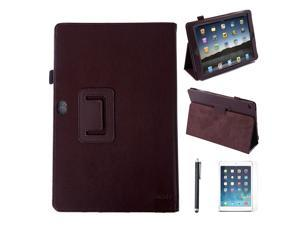 HDE iPad Air 2 Case Leather Folding Magnetic Cover Rotating Stand  + Screen Protector + Stylus (Brown)