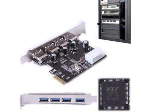 HDE USB 3.0 PCI-E Express Card with 4 USB 3.0 SuperSpeed Ports and 5V 4-Pin Power Connector for Desktops (VL800 Chipset)